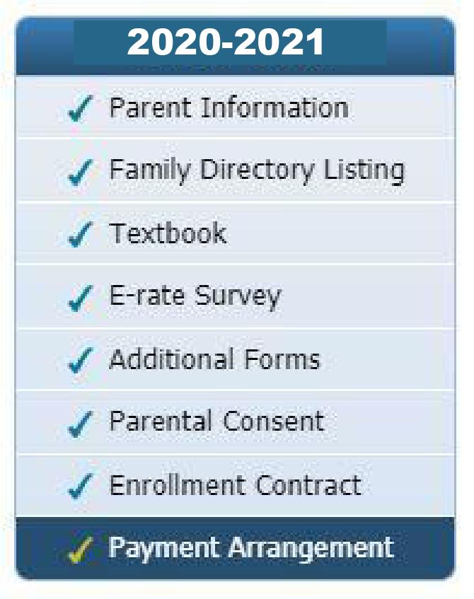 Online registration menu