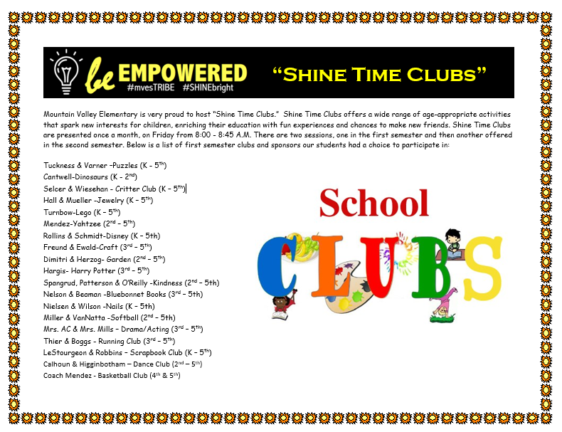 1st Semester Shine Time Clubs