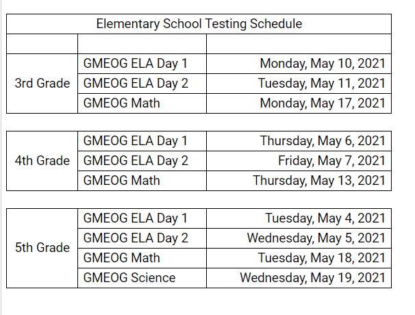 GMAS Testing Schedule