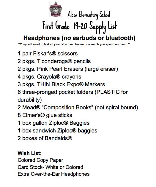 first grade 2019-20 supply list