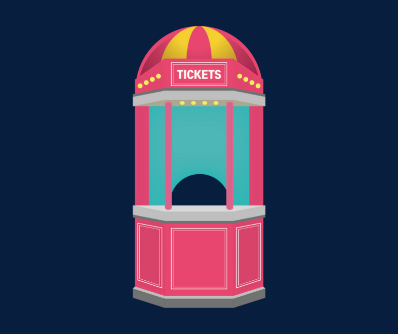 the image is of a pink ticket booth on a dark blue background
