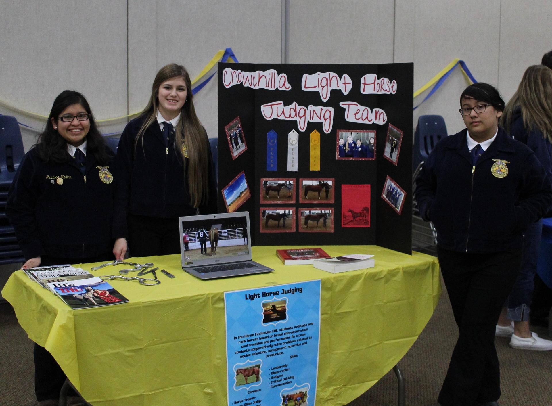 Jessica Medina, Victoria Jimenez, and Athena Camacho at Light Horse Judging