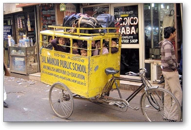 Bike School Bus with children