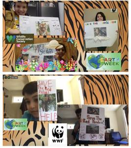 2 collages with students holding their endangered species projects
