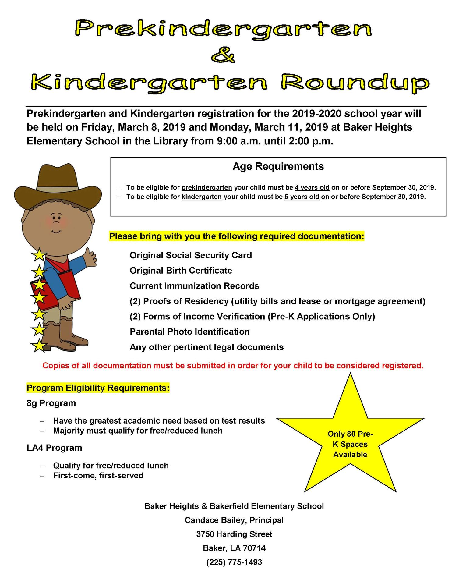 a photo of the announcement for Pre-K and K round-up at Bakerfield & Baker Heights Schools