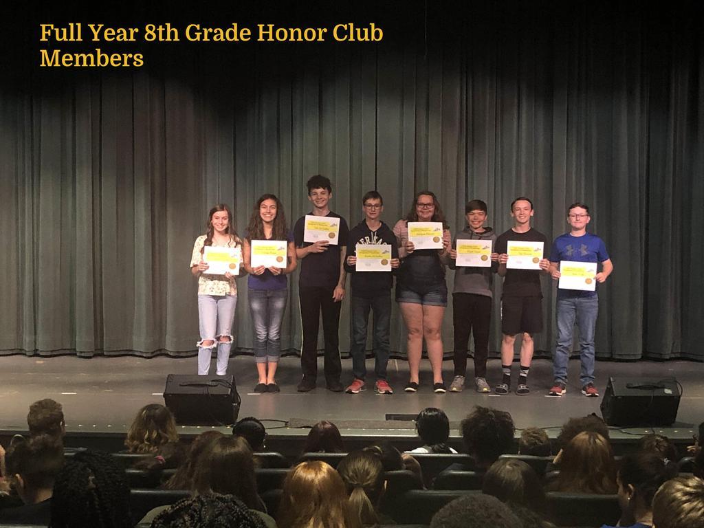 FY 8th Grade Honor Club Members