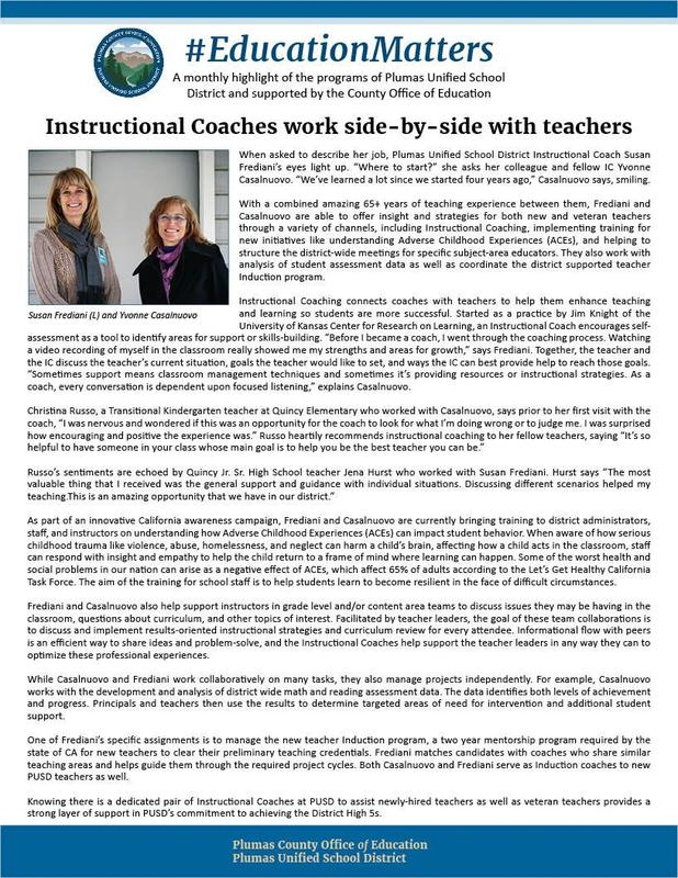 Article about Instructional Coaches at Plumas Unified School District