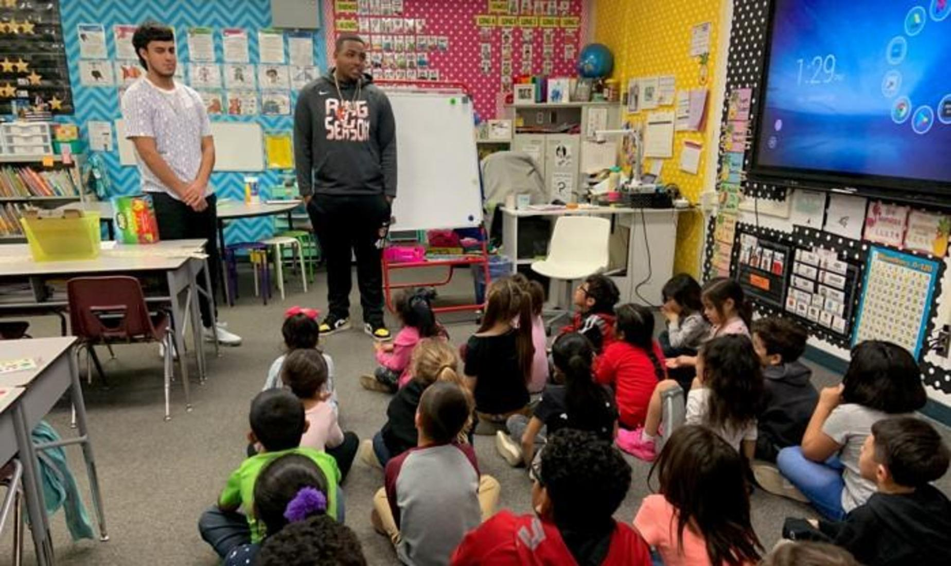 Central Unified Athletes as Readers and Leaders read to Steinbeck students