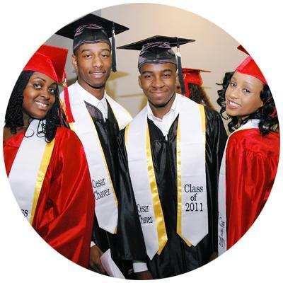 Pictures of graduates in their red and black caps and gowns.