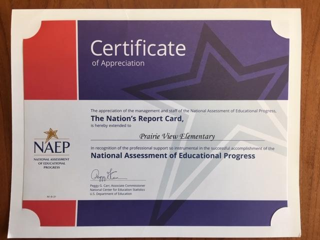 2019 NAEP certificate