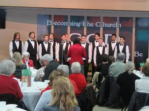 The TKHS Honors Choir performs annually at the senior holiday luncheon.