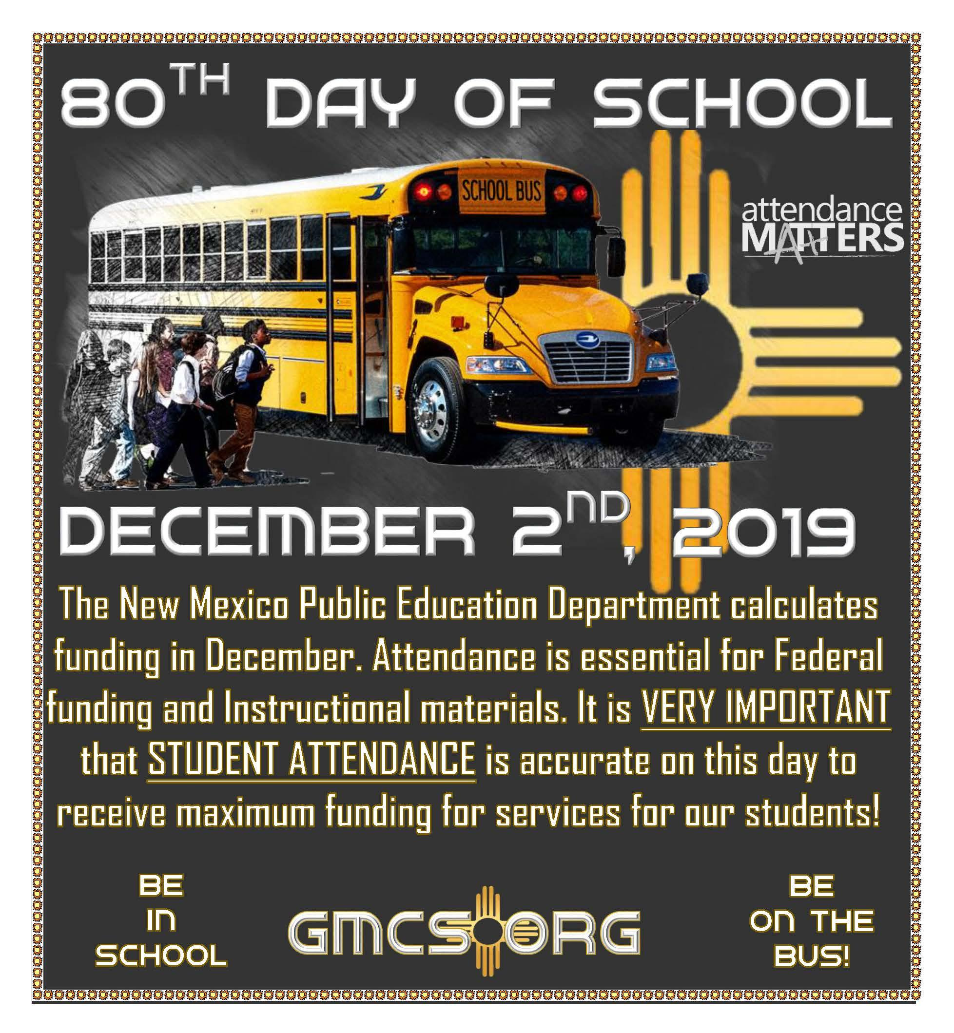 80th Day of School December 2