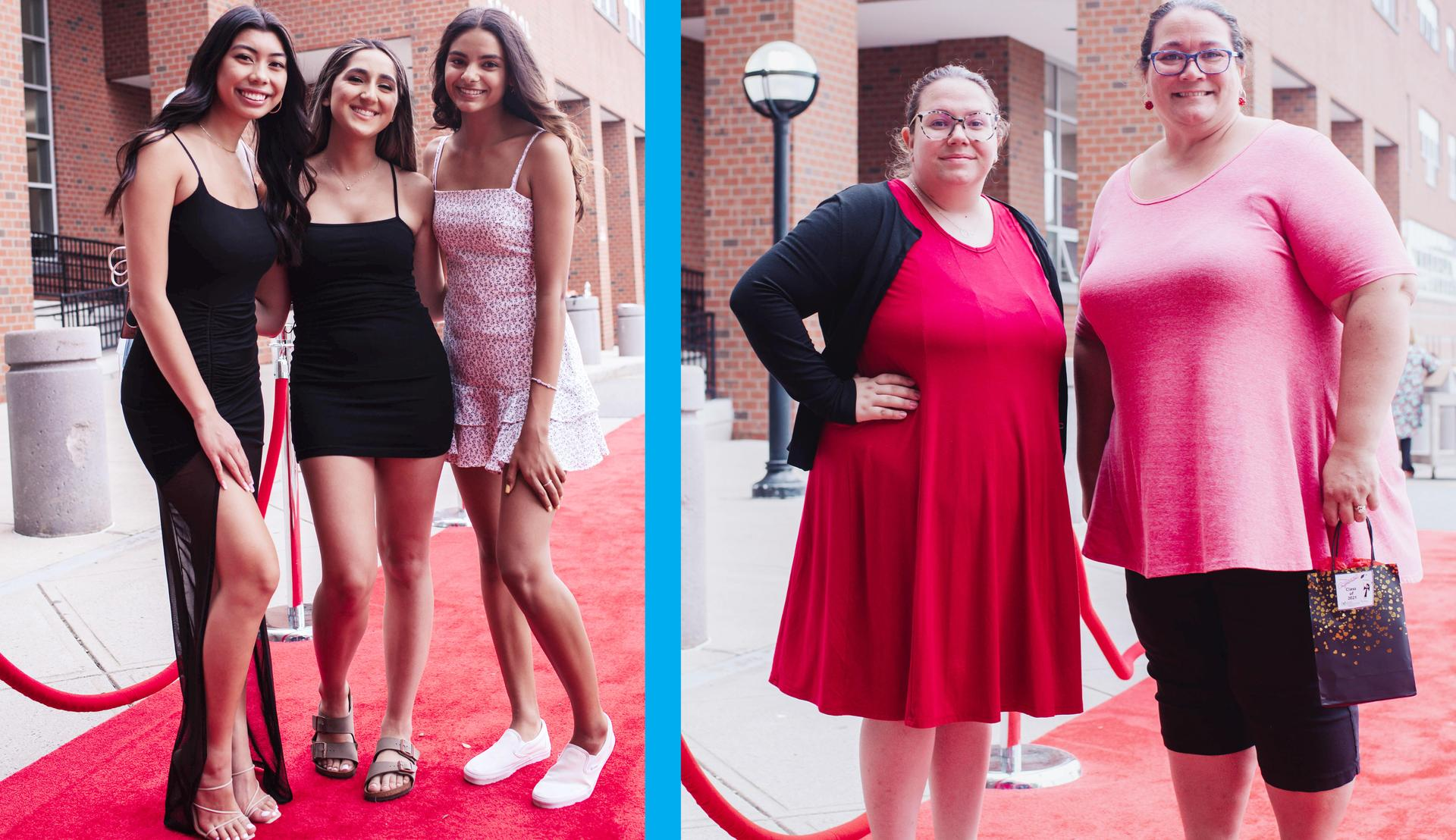 Two-tile photo, people and seniors arriving at the Red Carpet Extravaganza