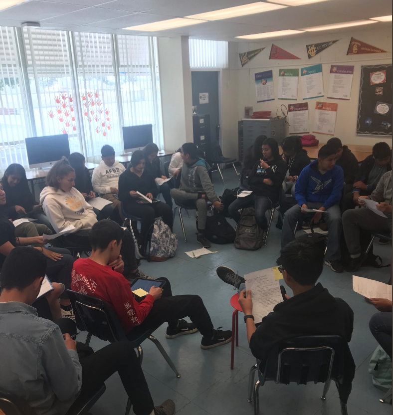 Students sitting in a circle reading