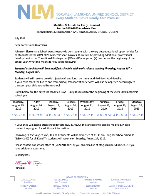 Kindergarten Modified Schedule **IMPORTANT** (click on this link) Featured Photo