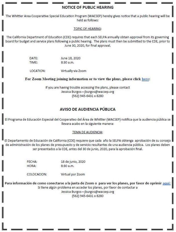 Screenshot of the WACSEP public hearing notice.