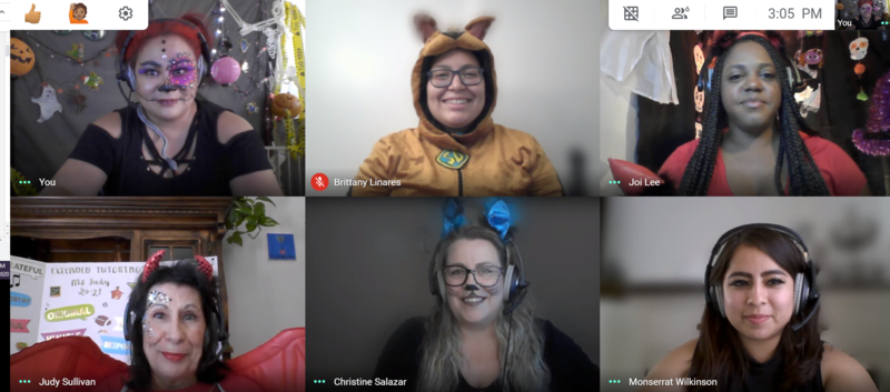 Teresa Haeckel, Judy Sullivan, and Monse Wilkinson, Joi Lee, Britney Linares, and Christine Salazar on a zoom call