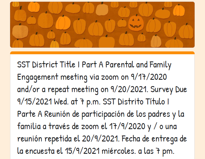 Title I Part A Parental and Family Engagement Meeting Featured Photo