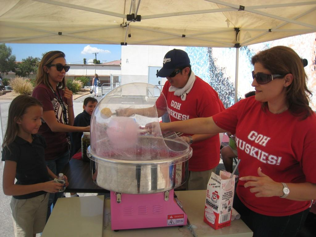 Cotton Candy being created during the PTA/ASB Community Building Picnic