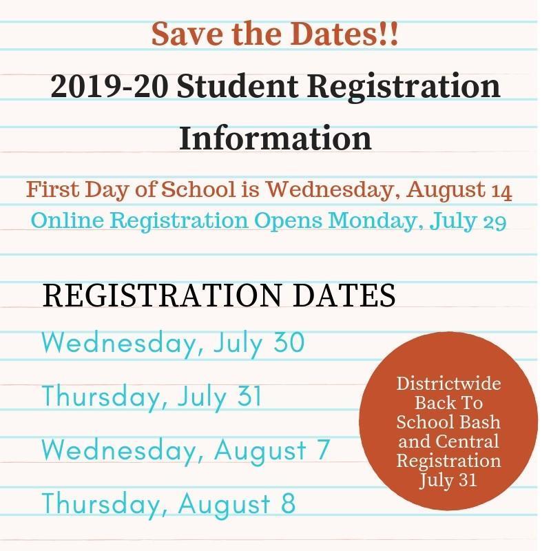 2019-2020 School Registration Dates! Thumbnail Image