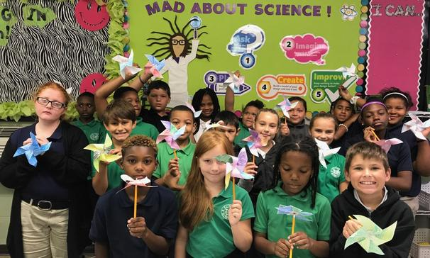 Ms. Stelly's fourth-grade science students at Glendale Elementary made pinwheels to explore how energy is transferred from one place to another.
