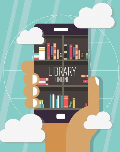 poster only - photo of iPhone with a library in it for online library.