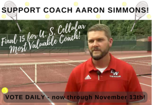 Support Coach Aaron Simmons! Final 15 for U.S. Cellular Most Valuable Coach Award! Vote daily now through November 13th.