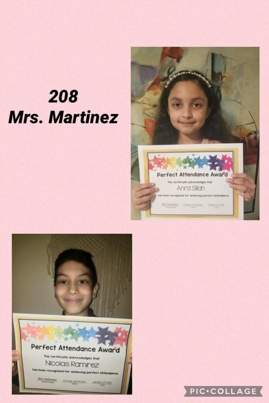 Room 208 Perfect Attendance collage