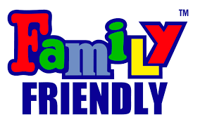 "This is a multi-colored graphic that reads, ""Family Friendly""."