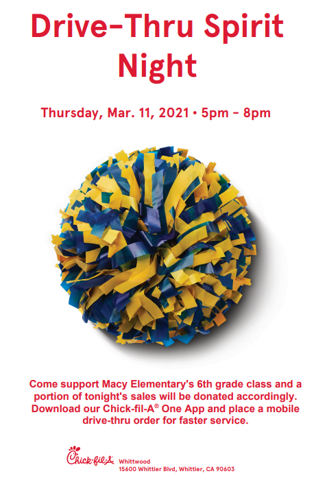 6th Grade Fundraiser @ Chick-fil-A on Thurs. 3/11 from 5-8PM Featured Photo