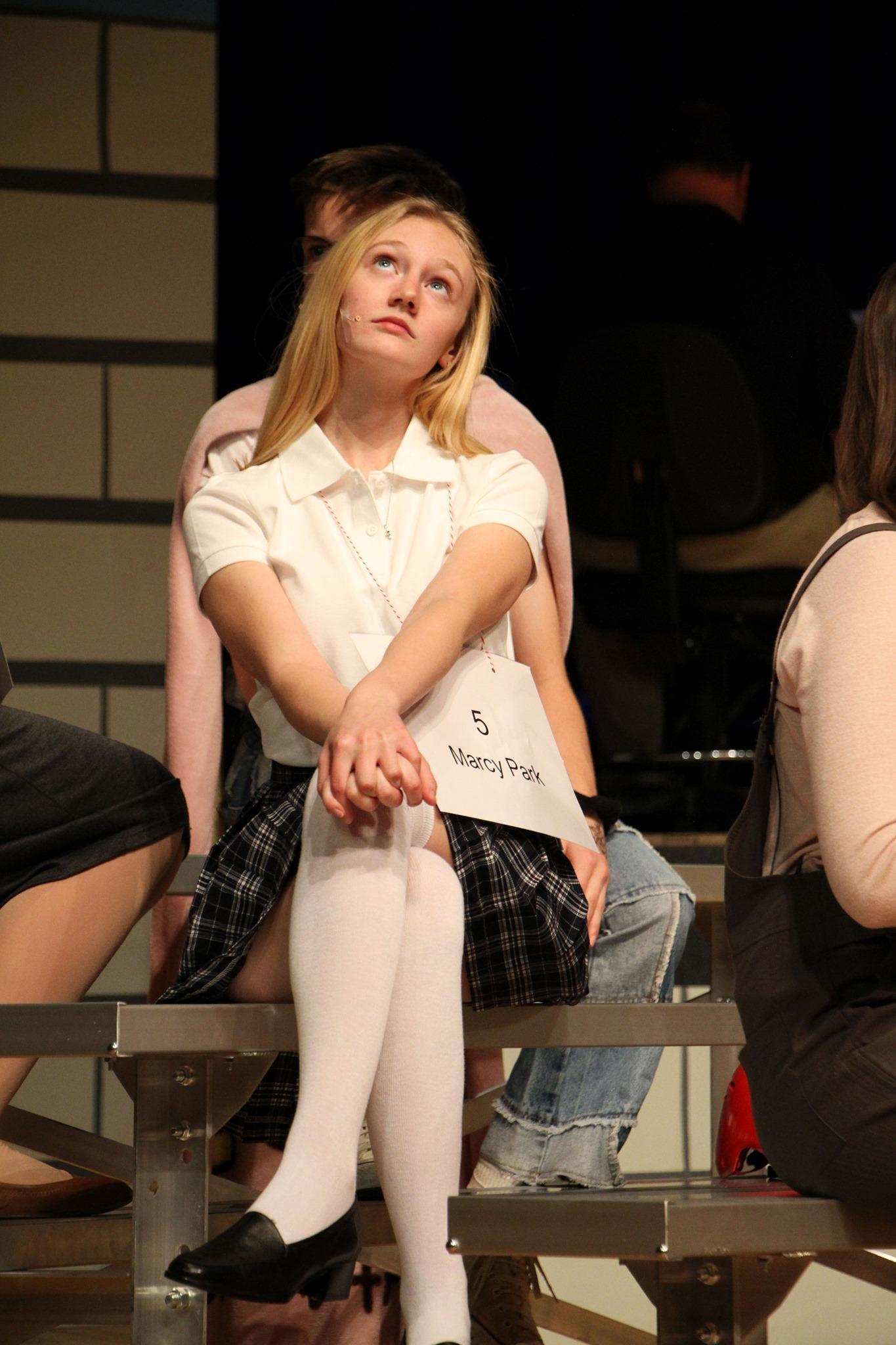 Girl performing in school play