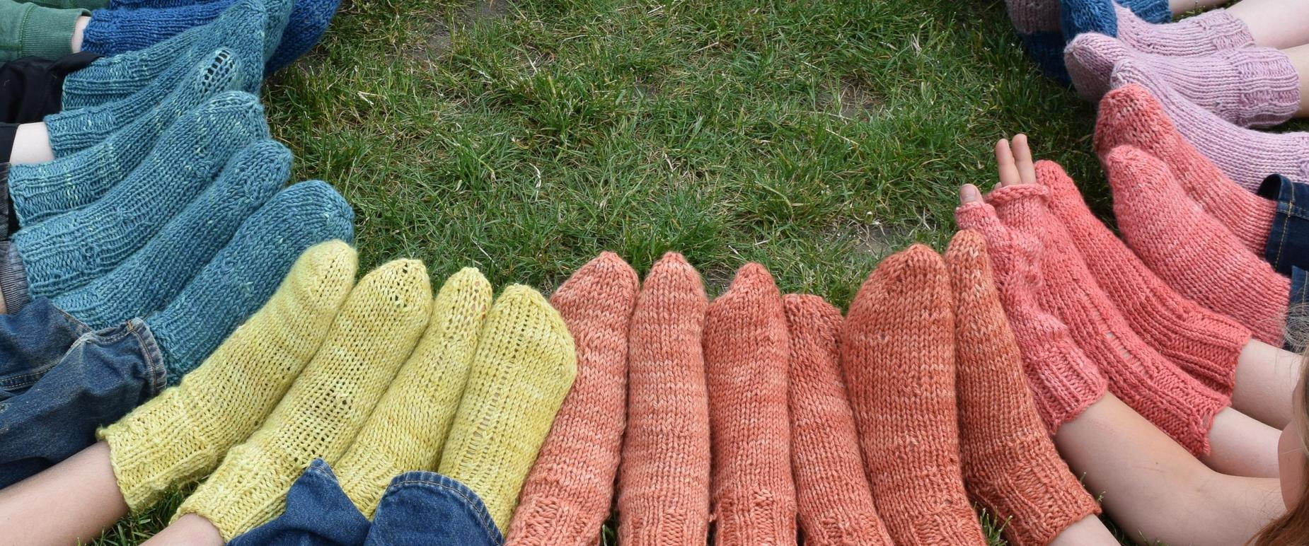 colorful hand knit socks. 5th grade