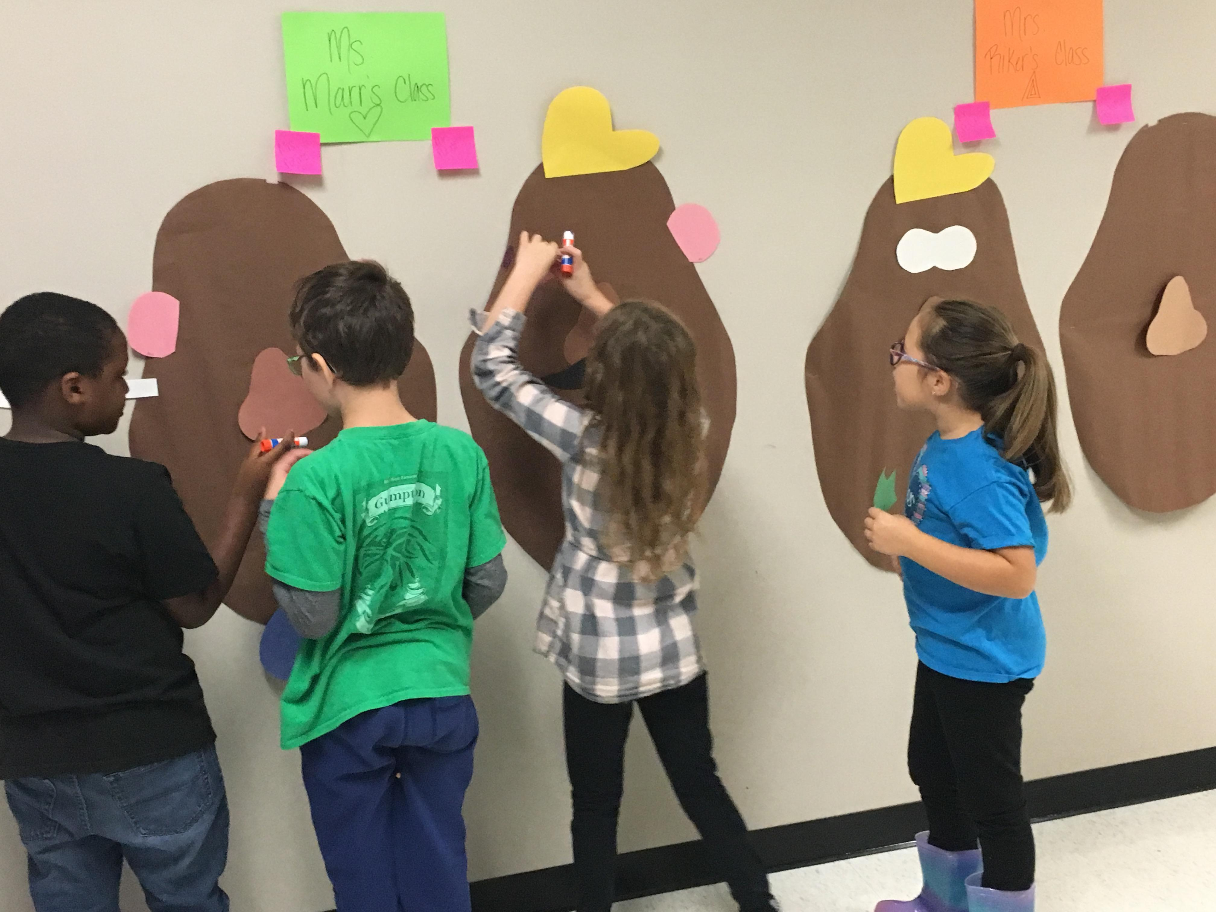 Blue Haze Elementary third graders solved math problems so they could put Mr. and Mrs. Potato Head back together during a Toy Story classroom transformation.