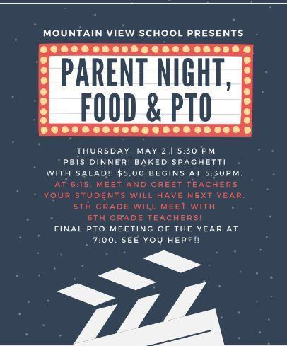Parent Night, Spaghetti, & PTO May 2! Thumbnail Image