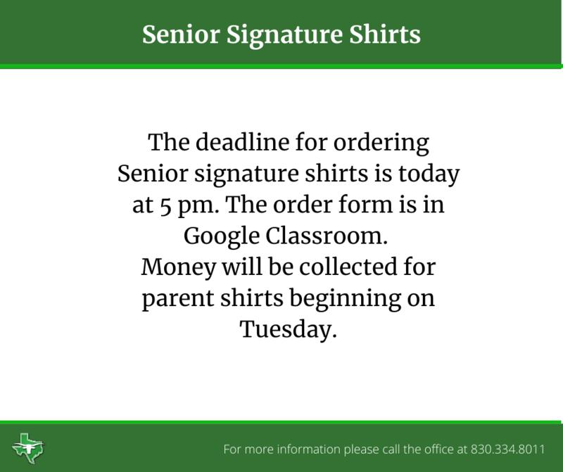 Senior Signature Shirt Deadline Today Thumbnail Image