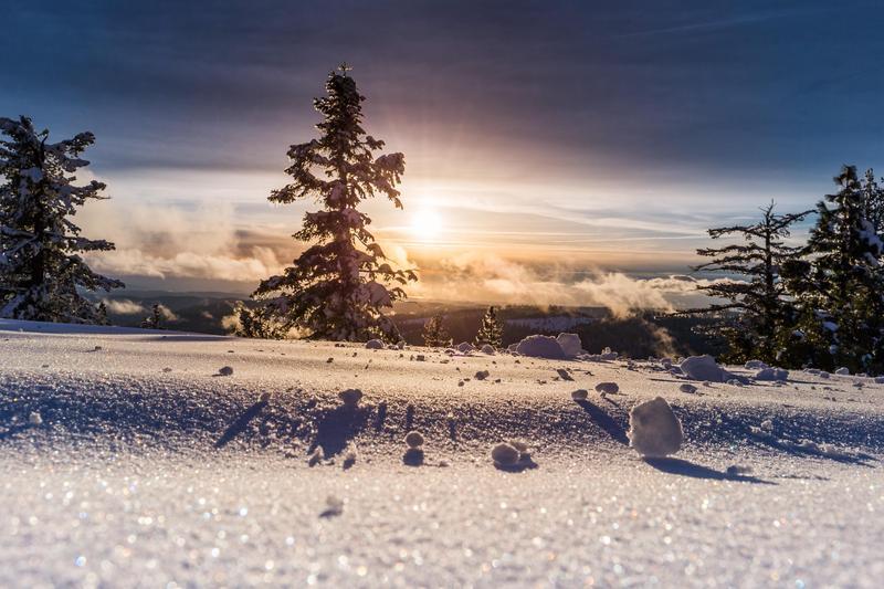 Snowy scene.