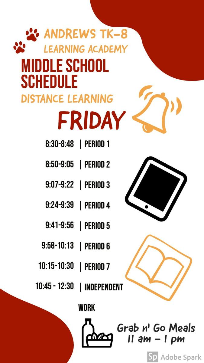 Middle School Schedule Friday