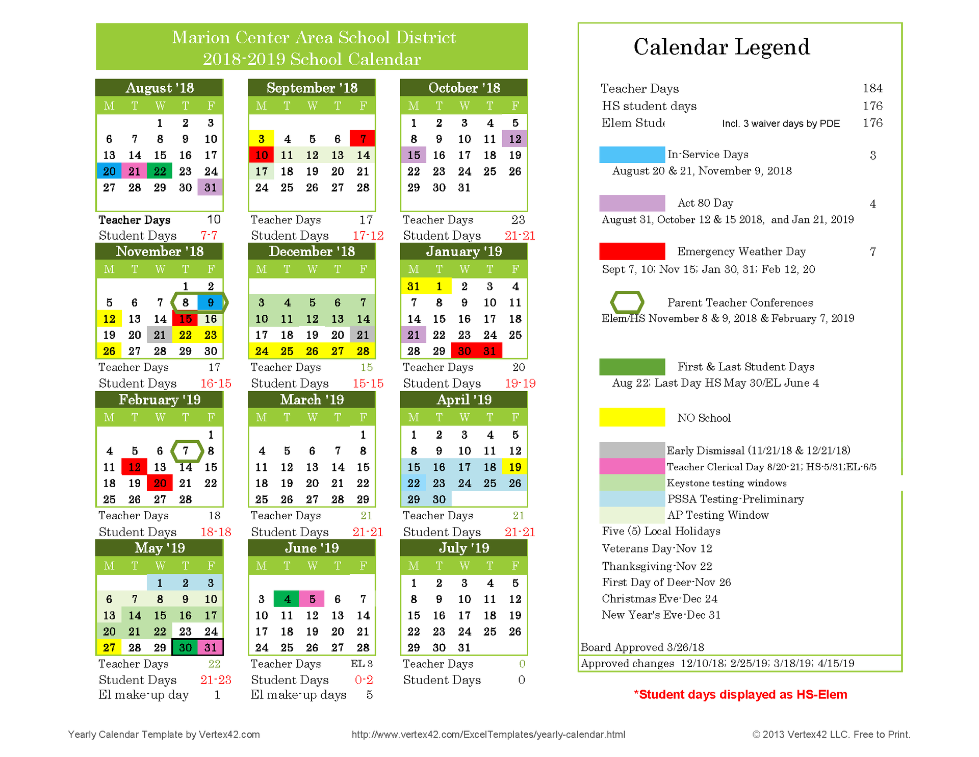 Approved 18-19 School Calendar