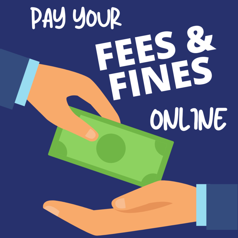 Pay your fees and fines online with hands exchanging money.