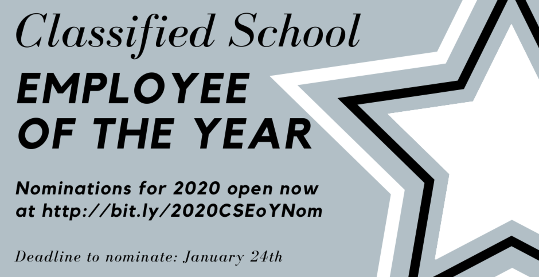 Photo of information on the 2020 Classified Employee of the year nominations