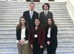 Student Council members (back row, from left) Alex Ola, Michael Crowley, (front row) Melissa Heintzinger, Alexis Bonifate and April Bonifate represented Mars Area High School at the 2019 PASC Student Summit.