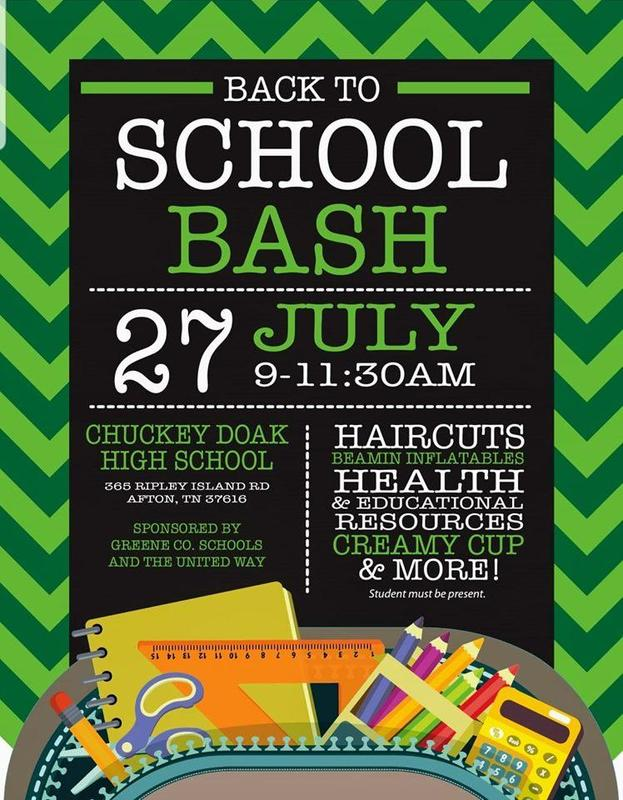 Back 2 School Bash @ Chuckey Doak High School on July 27th  9:00 - 11:30 a.m.
