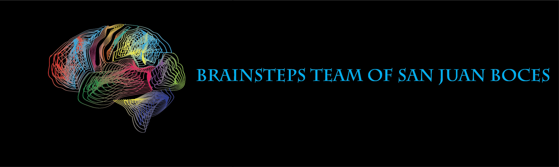A colorful line drawing of a brain with the text Brainsteps team of San Juan BOCES to the right