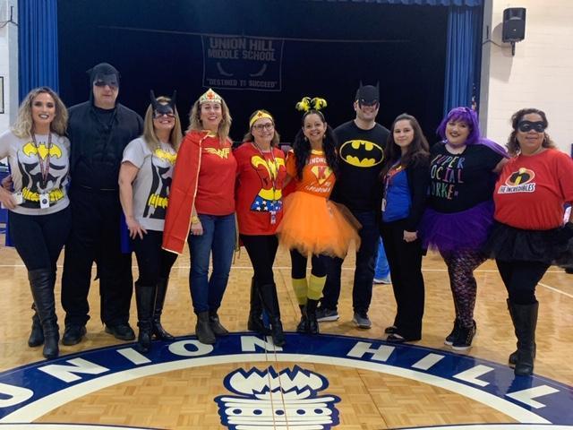 UHMS admin dressed as super heros