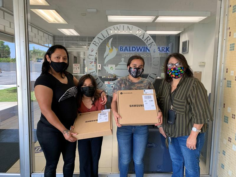 BPUSD students and families receive Chromebooks, donated by The California Emergency Technology Fund.