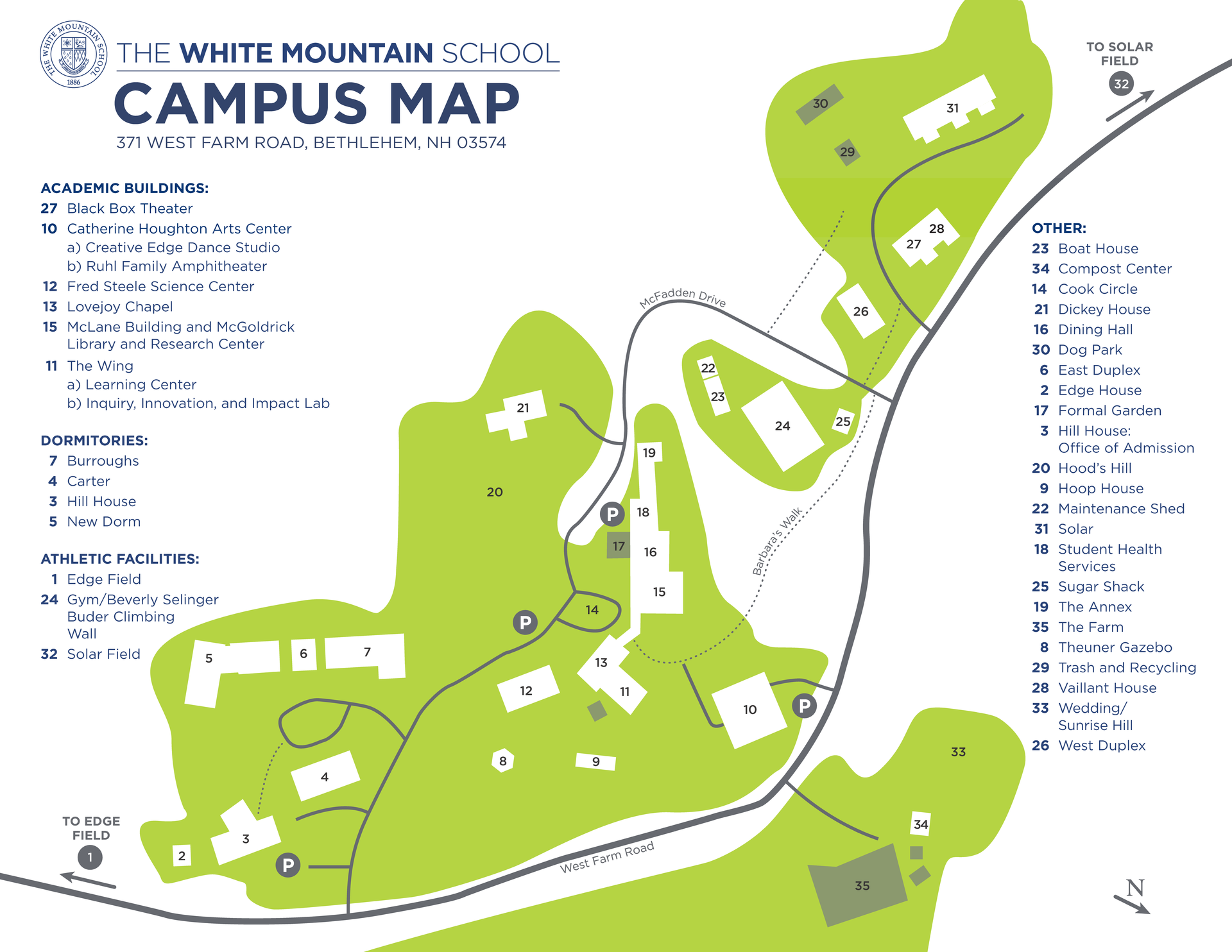 White Mountain Campus Map (Updated March 25, 2021)