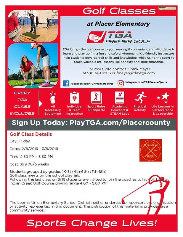 Golf Classes at Placer Elementary for K-3, 4th-6th and 7th-8th Featured Photo
