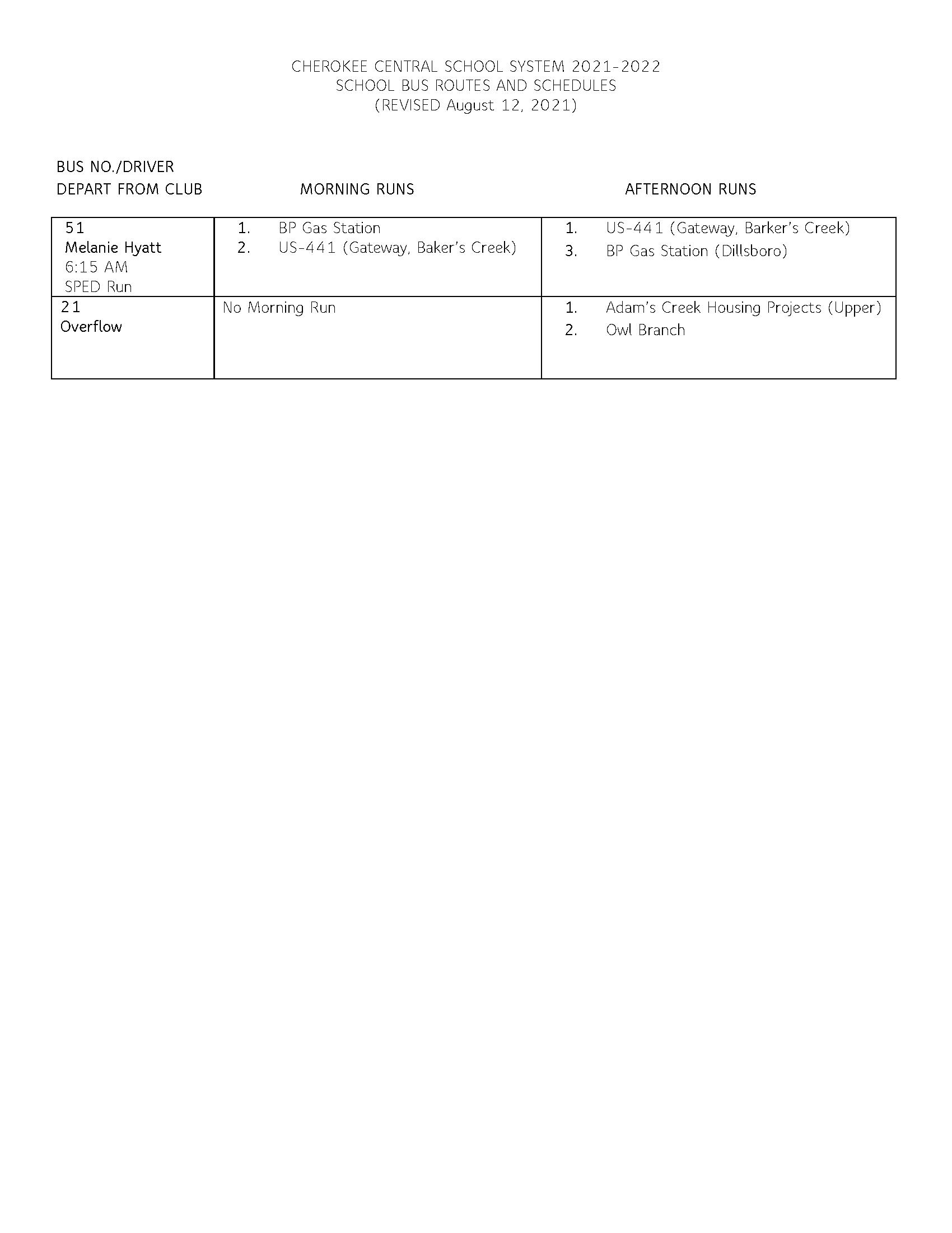 2021-2022 Bus Schedule