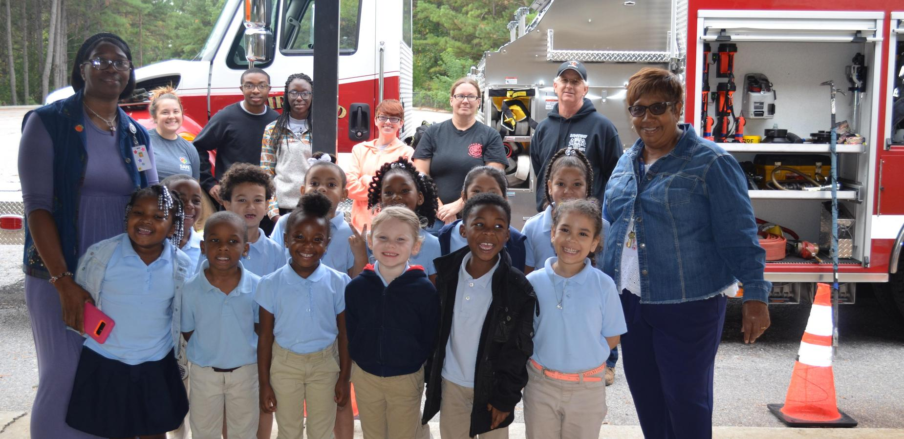 5K Class picture with Firefighters.