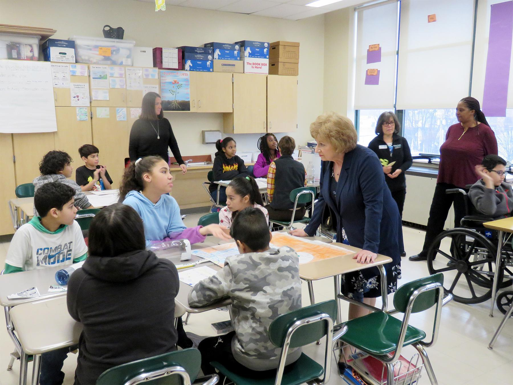 Students interact with Superintendent Gauthier